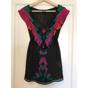 H&M black and multi-color beaded blouse.